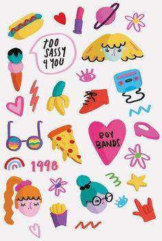 Sticker Set via Etsy Set of 15 water transfer stickers for Nail Art Decoration Cartoon Stickers, Cute Stickers, Cute Doodles, Cute Friends, Planner, Cute Illustration, Sticker Design, Pattern Wallpaper, Cute Drawings