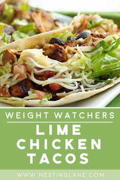 Weight Watchers Lime Chicken Tacos Recipe with cilantro, red wine vinegar, garlic, green onions, and flour tortillas. A Mexican dinner recipe that's low calorie and low fat. 5 WW Smart Points (Green Plan) Weight Watchers Meal Plans, Weight Watcher Dinners, Weight Watchers Diet, Weight Watchers Chicken, Weigh Watchers, Weight Watchers Smart Points, Low Calorie Dinners, No Calorie Foods, Low Calorie Recipes