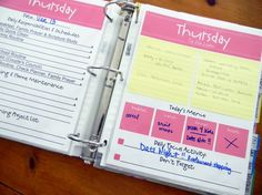 Family Planner: Four sections   Cleaning your weekly, monthly, and yearly cleaning schedule  Cooking  Menu planning, recipe ideas, shopping list, coupon section, etc  Planning  daily, weekly, and monthly planning.  Basic Info authorization papers, goals, babysitter info, family dr