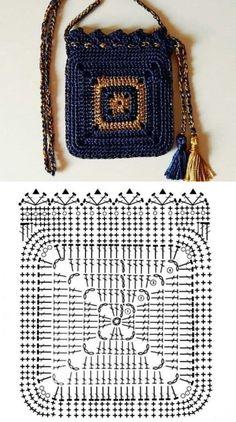 Crochet Tote, Crochet Handbags, Crochet Purses, Crochet Stitches, Crochet Hooks, Crochet Square Patterns, Crochet Diagram, Bag Patterns To Sew, Crochet Designs