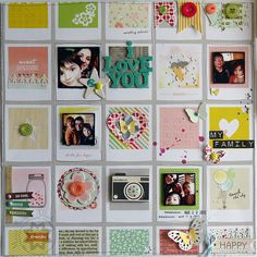 Fun use of frames, creative embellishing.