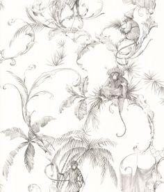 Barbary Toile Charcoal wallpaper by Nina Campbell