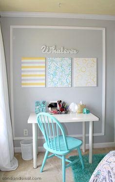 Teen Room Makeover - Gray, Yellow, Turquoise #HelloBeautiful