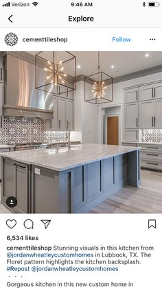 Different Backsplash, but light gray cabinets and flooring are lovely; Updated Kitchen, New Kitchen, Kitchen Dining, Modern Farmhouse Kitchens, Home Kitchens, Light Gray Cabinets, Home Decor Kitchen, Home Remodeling, Kitchen Remodel