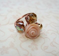 Copper wire ring used semipresious stones and polymer clay rose