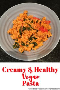 Enjoy this easy creamy healthy vegan pasta. It just takes a few ingredients to create a great dinner for you and your family!