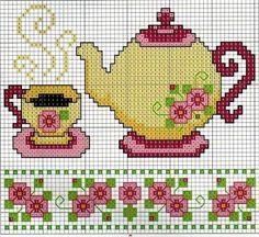 Ponto cruz mesa de chá                                                                                                                                                      Mais