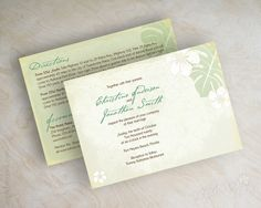 Tropical Destination Beach Wedding Invitations. Shown in celery green and off-white. Printed front and back. www.appleberryink.com