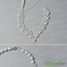 Looking for bead necklace designs? What about this crystal glass bead necklace? Just check the detailed tutorial below to see how to make this crystal glass bead necklace. Bead Jewellery, Crystal Jewelry, Crystal Necklace, Bead Necklaces, Beaded Jewelry, Beaded Bracelets, Wedding Jewelry Sets, Bridal Jewelry, Handmade Pearl Jewelry