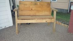 adult cedar pallet bench with split landscaping timbers for arms and legs