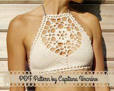 PDF-file for Crochet PATTERN, Venus Crochet Top Sizes XS-L, bikini top