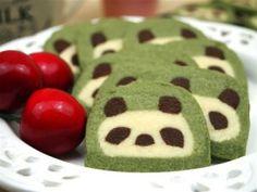 Panda Kekse aus Grüntee (Matcha)