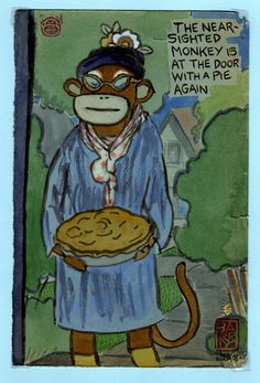 The Near-Sighted Monkey is at the door with a pie!  Lynda Barry