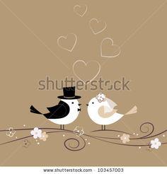 Convite de casamento com pássaros