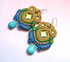 Soutache earrings with turquoise and braid,sterling silver. $41.00, via Etsy.  S colors