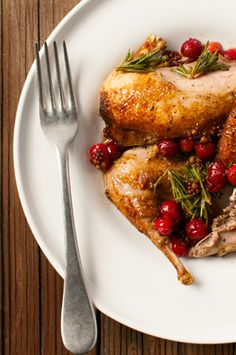 Partridges with rosemary and cranberries... Photo by Holly A. Heyser