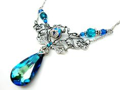 Hey, I found this really awesome Etsy listing at https://www.etsy.com/listing/126842493/peacock-necklace-blue-victorian-style