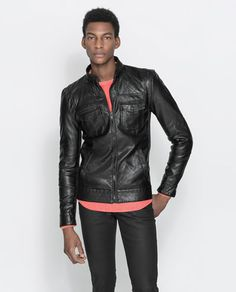 FAUX LEATHER JACKET WITH KNITTED SIDE PANELS