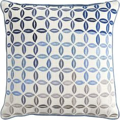 Embroidered tiles add a dimension of texture and individuality to our embroidered Portica pillow, and the varying shades of blue, in a dramatic ombre pattern, boost its versatility factor.