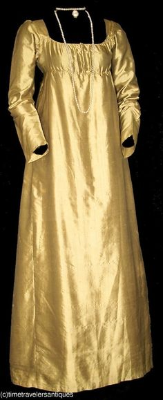 Brilliant c1810 Golden Silk Satin Evening Gown | eBay