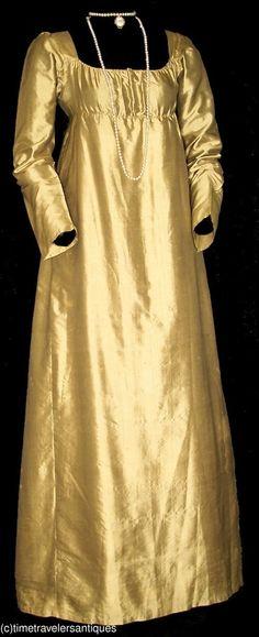 Brilliant c1810 Golden Silk Satin Evening Gown   eBay