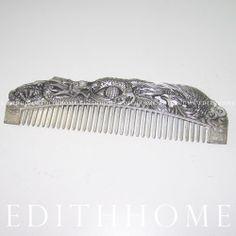 Miao Silver Comb - Longfengchengxiang ( Dragon & Phoenix ) Chinese Hair Brush 02