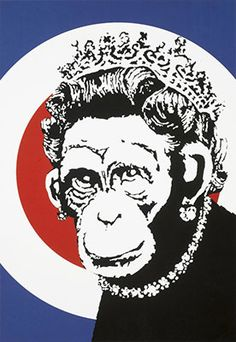 Bid now on Monkey Queen by Banksy. View a wide Variety of artworks by Banksy, now available for sale on artnet Auctions. Graffiti Art, Arte Banksy, Bansky, Banksy Monkey, Banksy Prints, Banksy Paintings, Banksy Artwork, Banksy Canvas, Banksy Stencil