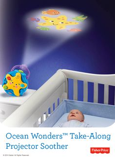 Traveling can affect your baby's sleep pattern, so be prepared! The Ocean Wonders™ Take-Along Projector Soother plays classical lullabies or soft ocean sounds while putting on a scenic light show that changes as baby grows. #Travel #Vacation