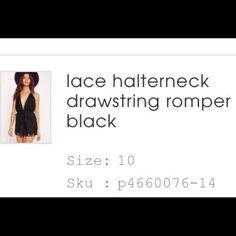 Lace Romper Halter neck lace romper Missguided Pants Jumpsuits & Rompers