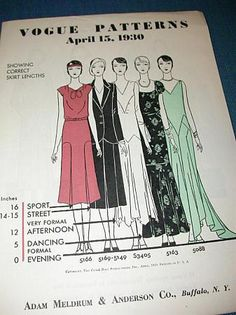 Vogue Patterns guide to the Correct dress  lengths for morning, afternoon & evening ~ 1930s style ~