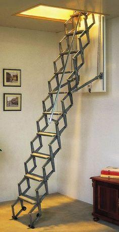 Aluminum telescopic attic stairs #atticdiy