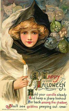 gravesandghouls:    Vintage Halloween postcard c. 1911