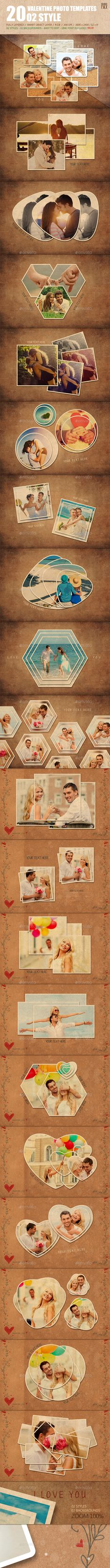 20 Valentine Photo Templates  Vol.02 — Photoshop PSD #greeting #seasonal • Available here → https://graphicriver.net/item/20-valentine-photo-templates-vol02/14541960?ref=pxcr