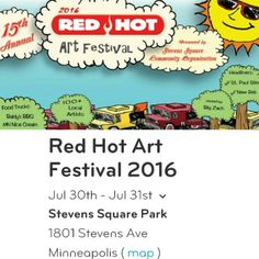Stevens Square Art Festival Sat&Sun July 30-31 @RedHotArt & food vendors, music too! http://www.citypages.com/calendar/red-hot-art-music-festival-8298329