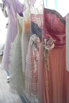 A rack of vintage prom dresses from Rachel Ashwell's Shabby Chic Couture in New York. It brings to mind the many dreams I've had that featured racks and racks of frothy, feminine, princess-like dresses. Vintage Bridesmaid Dresses, Vintage Prom, Mode Vintage, Vintage Dresses, Vintage Outfits, Vintage Fashion, Prom Dresses, Wedding Dresses, Pastel Bridesmaids