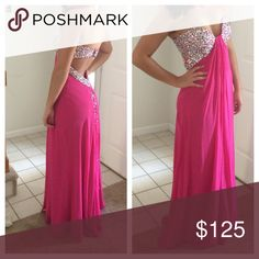 """Prom dress Deep pink with gem embellished top/back, gems trail down back to ground. Worn once. Altered to fit 5'8"""" with flat shoes. Barefoot in photos. Size 6 but altered around top to fit a 34C bust size. Jovani Dresses Prom"""