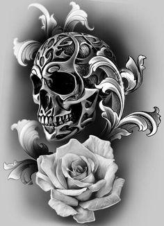 Tattoo Design Idea Metallic Skull Tattoo and White Rose Tattoo Design Idea Metallic Skull Tattoo and White Rose Skull Rose Tattoos, Body Art Tattoos, Tattoo Drawings, Sleeve Tattoos, Skull Drawings, Skull Tattoo Design, Tattoo Designs, Skull Design, Tattoo Ideas