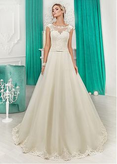 af77e37682 Magbridal Attractive Tulle   Satin Bateau Neckline A-Line Wedding Dresses  With Lace Appliques