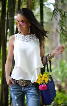 Blue Anne Klein bag and White lace top by Dex