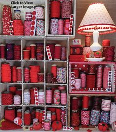 Nifty Thrifty Dry Goods - Antique, Vintage & New Ribbons, Trims, Buttons, & Embellishments Ribbon Display, Ribbon Storage, The Quilt Show, Vintage Sewing Notions, Gifts For Photographers, Red Color, Colour, Dry Goods, Silk Ribbon Embroidery