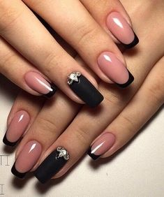 Matte Black and Nude Nail Art Designs for A Beautiful Bridal Look