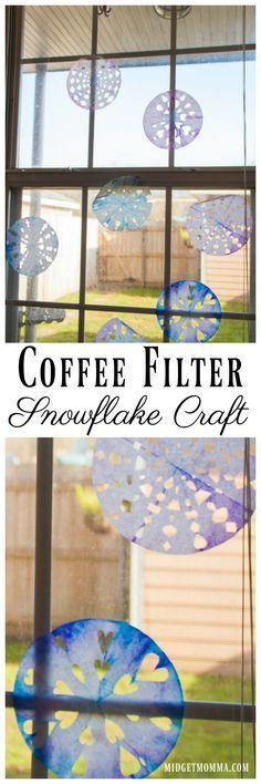 This Coffee Filter Snowflake Craft is an easy holiday winter craft for kids to do. They are able to make their own snowflakes and decorate them! #snowflake #snowflakecraft #holidayCraft #wintercraft #christmascraft #kidscraft