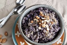 Blueberry Breakfast Quinoa with Almonds & Maple Syrup