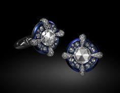 Carnet by Michelle Ong - Azure Opulence Cufflinks. White diamonds cufflinks set in 18k white gold and titanium