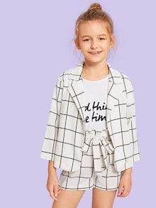 Kiddie Girls White Plaid Notched Collar Coat And Belted Shorts Casual – gagokid Cute Girl Outfits, Kids Outfits Girls, Cute Outfits For Kids, Summer Outfits, Casual Outfits, Cute Clothes For Kids, Girls Fashion Clothes, Tween Fashion, Fashion Outfits