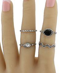 Water Drop Faux Gem Jewelry Ring Set #jewelry, #women, #men, #hats, #watches, #belts
