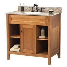 Foremost Exhibit 31 in. W x 22 in. D Vanity in Rich Cinnamon with Granite Top in Golden Hill-TRIAGH3122 at The Home Depot