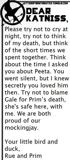 Dear Katniss,    Please try not to cry at night, try not to think of my death, but think of the short times we spent together. Think about the time I asked you about Peeta. You went silent, but I knew secretly you loved him then. Try not to blame Gale for Prim's death, she's safe here, with me. We are both proud of our mockingjay.    Your little bird and duck,  Rue and Prim