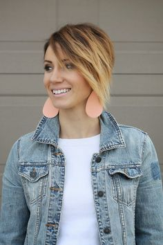 Short ombre hair and Nickel & Suede leather earrings