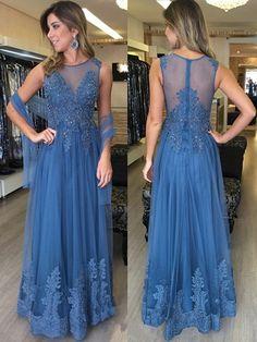 Modest Long Prom Dresses,A-line Blue Formal Dresses,Scoop Neck Tulle Women Evening Dresses,Appliques Lace Party Gowns
